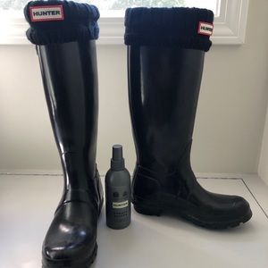Hunter Rain Boots - Tall Black Gloss